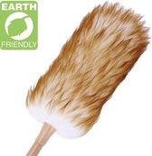 Luxe plumeau met bamboe handvat – Biologisch schapenwol – 52 cm – Incl. ophangkoord - Plumeau met microvezel – Ragebol – Plumeau met veren – Duurzaam – Lamswollen plumeau - Reinigbaar
