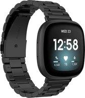 KELERINO. Metaal Bandje - Fitbit Versa 3 / Sense – RVS Schakel – Met Horloge Inkort - Zwart