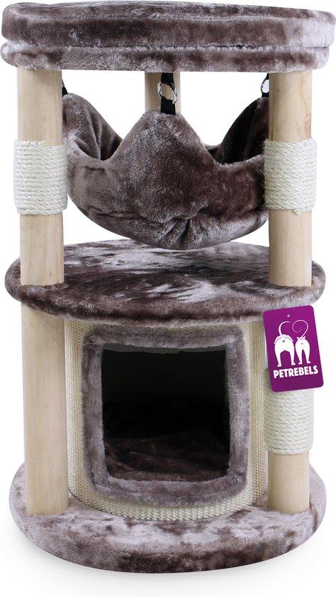 Petrebels Krabpaal hout Tampa 70 cappuccino - 45 x 45 x 70 cm - 13,52 kg - Natuurlijke design krabpaal voor kleine katten