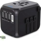 BasiqNeeds Universele Wereldstekker met USB C - Reisstekker met 3 USB poorten voor 150+ Landen - Zwart