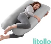 Litollo® Zwangerschapskussen XXL | Voedingskussen | Lichaamskussen |Body pillow |  280cm | Afneembare hoes | Grijs