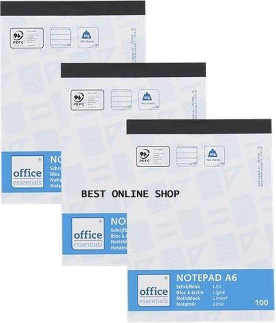 Afbeelding van Office Essentials Schrijfblok A6 - 100 vellen - 3 stuks in een blister