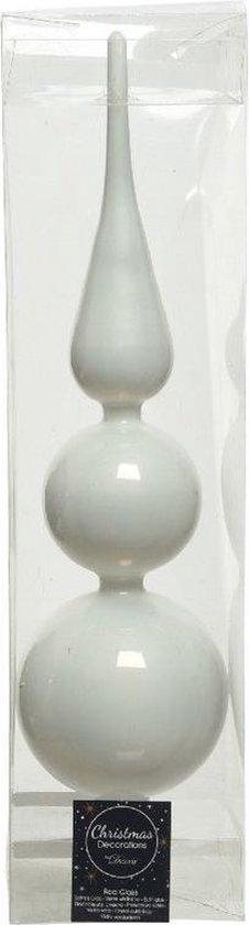 1x Grote winter witte glazen kerstboom piek 9 x 35 cm glans - Glas - Kerstboomversieringen winter wit