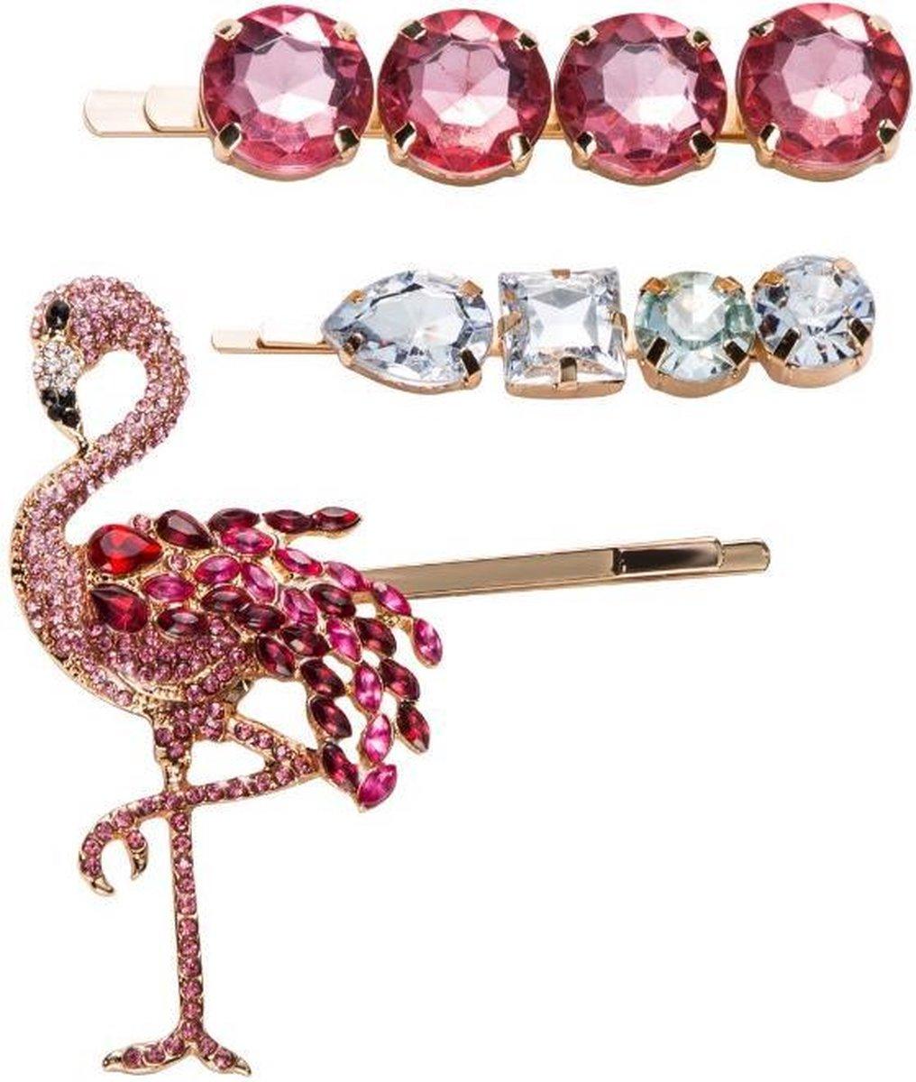 Flamingo - Haarspelden - set 3 stuks - Haarclip - Haarklem - Roze - Zilver - Haarsieraad - Dames - Haarspeld - Haar accessoires  - Uniek - Luxe - Cadeau Tip - haarmusthaves