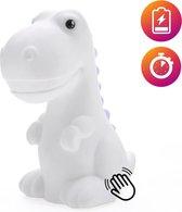 Dhink Dinosaurus Nachtlamp Oplaadbaar met Timer, Dimmer en Tapfunctie– Multi kleur en Wit licht