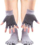New Age Devi Yoga sokken en handschoenen Set - Grijs - Antislip - One size