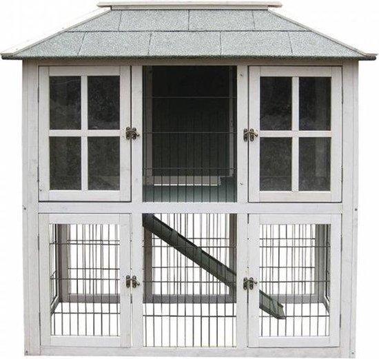 Woodland Konijnenhok Mumford Cottage - 121 x 64 x 121 cm - Wit