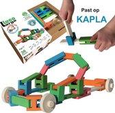 Luco Large ECO houten speel Blokken, plankjes en WIELEN. Uitbreiding voor #KAPLA. Duurzame constructieset. 36 elementen.