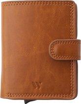 Wallix® Pasjeshouder Portemonnee - Uitschuifbaar - Unisex - 100% RFID Veilig - Creditcardhouder van Leer & Aluminium - Bruin/Zilver
