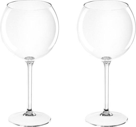 Set van 2x rode wijn/gin tonic ballon glazen transparant 650 ml onbreekbaar kunststof - Herbruikbaar - Wijnen wijnliefhebbers drinkglazen