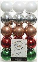 Decoris kerstballen – 30 stuks – kunststof - 6cm