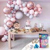 Fissaly® Pastel Ballonnenboog Macaron Roze, Grijs & Rose Goud – Ballonboog Feest Decoratie Versiering – Verjaardag - Helium, Latex, Folie & Confetti Ballonnen Boog