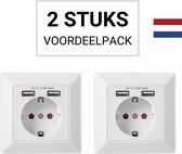 Wandcontactdoos Inbouw 2 stuks (NL) – Stopcontact Met 2 USB Poorten – Wit RAL9010 – Randaarde – SIL Products