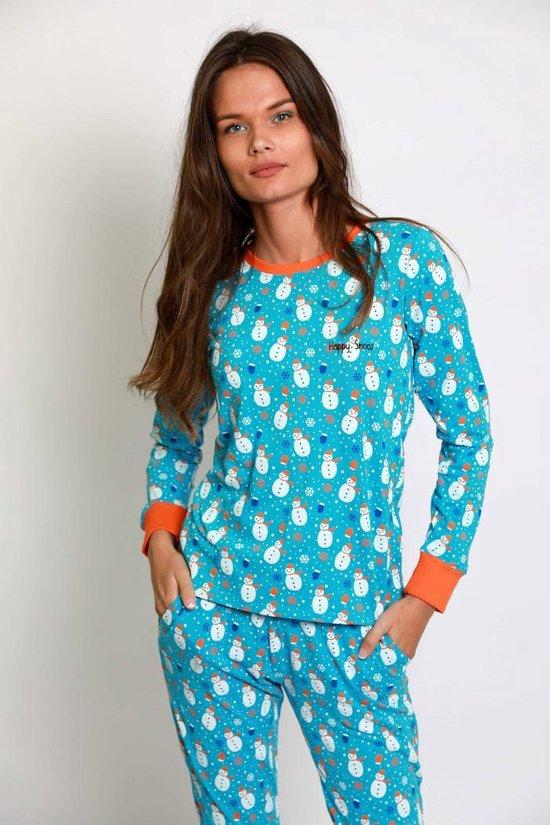 Happy Pyjama's - Vrolijke pyama dames volwassenen van katoen - Sneeuw & sneeuwpoppen - maat: M