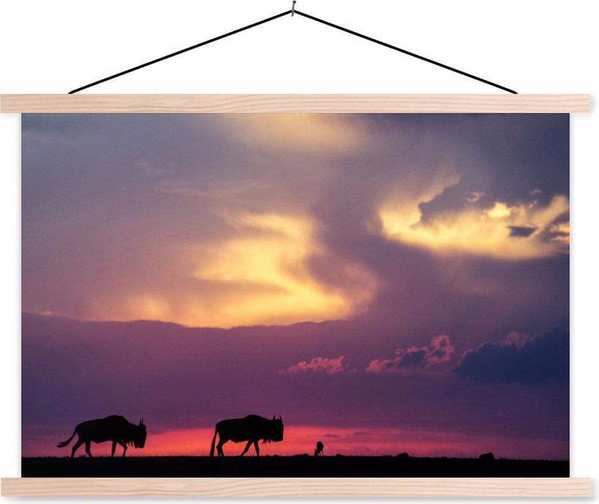 Kleurrijke lucht boven het Masai Mara National Park in Kenia schoolplaat platte latten blank 60x40 cm - Foto print op textielposter (wanddecoratie woonkamer/slaapkamer)