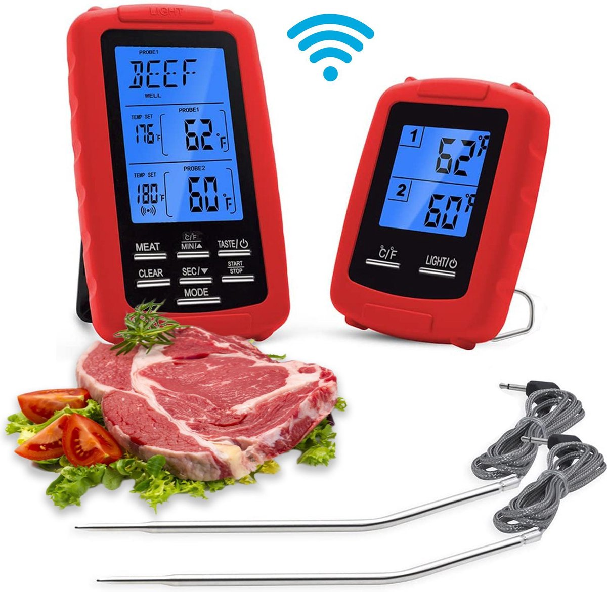 Vleesthermometer Digitaal BBQ Thermometer Draadloos - Kernthermometer - Oventhermometer - Meater