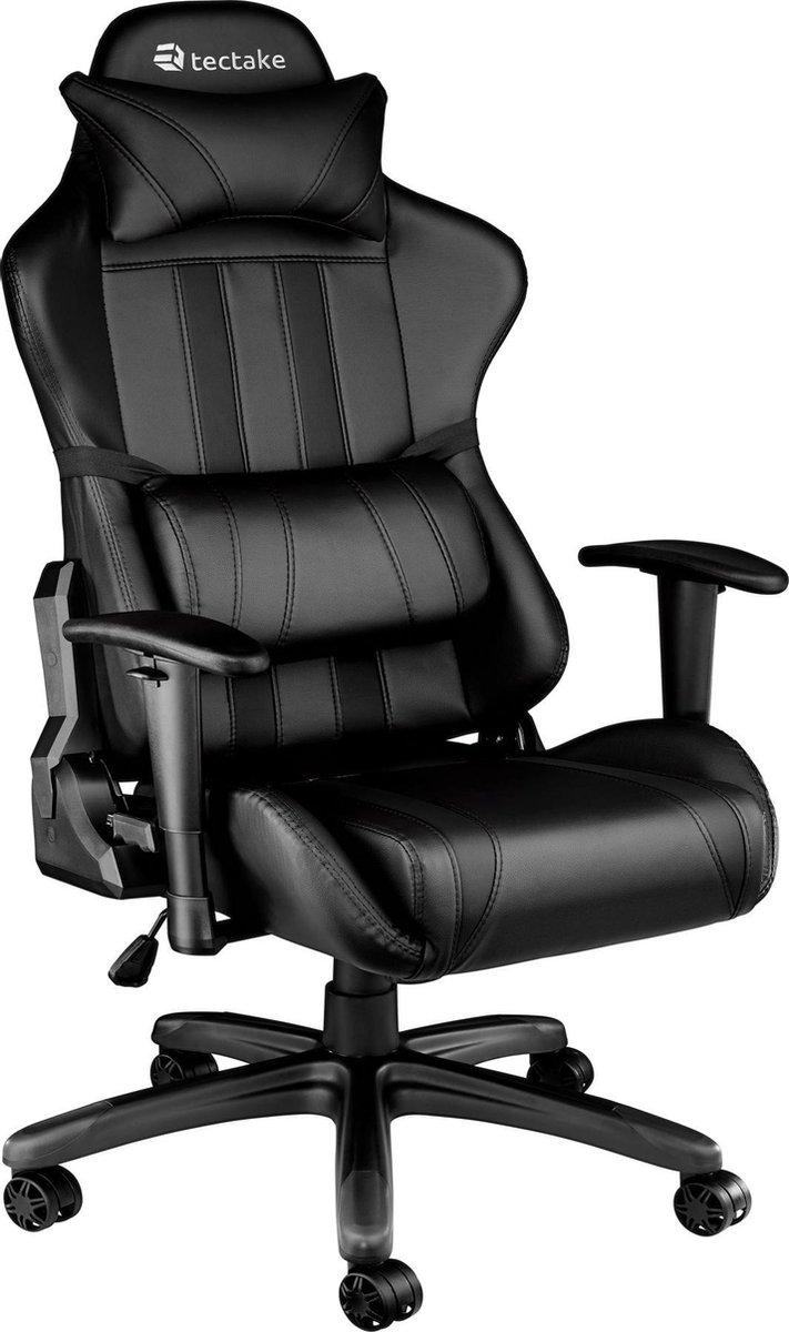 TecTake Gaming Chair Bureaustoel - Premium Racing - Zwart - Kunstleer - Verstelbaar
