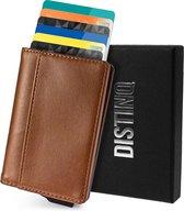 DistinQ Pasjeshouder Unisex Creditcardhouder Bruin met RFID & NFC beveiliging