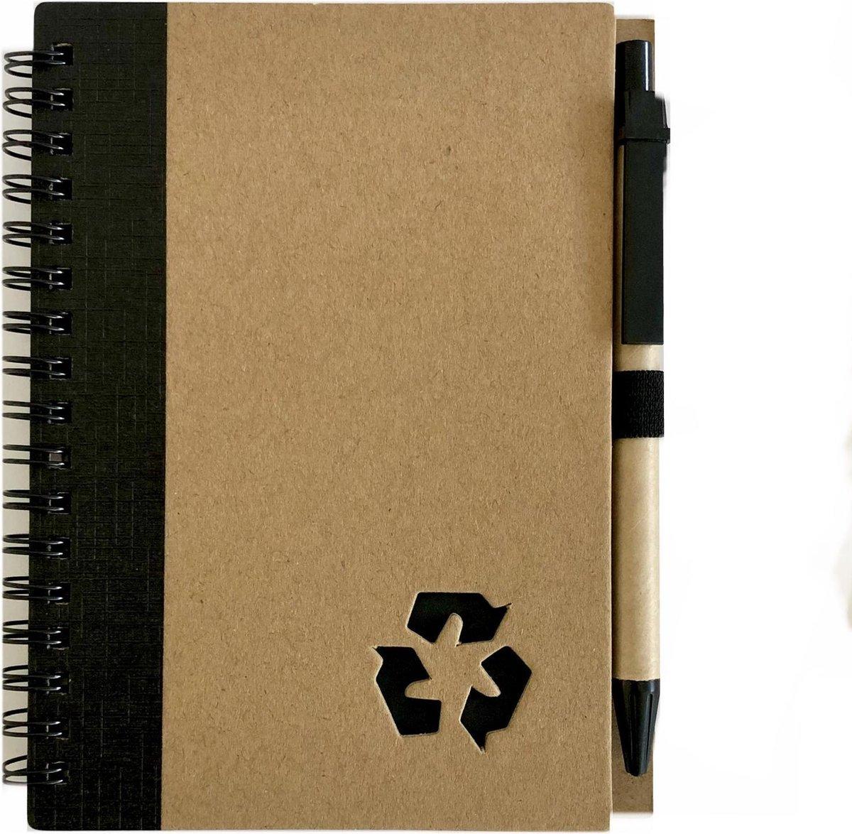 green-goose Notitieboekje | A6 formaat | Duurzaam Bamboe | Gerecycled Papier | Zwart