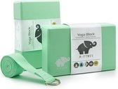 A-FTNSS Yoga Blokken Set Mint Groen + Gratis Yoga Riem | EVA Foam | 2 Yoga Blokken | (22.7x12x7.5 cm)