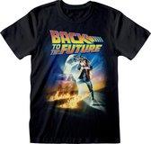 Back To The Future Unisex Affiche voor volwassenen T-Shirt (Zwart)