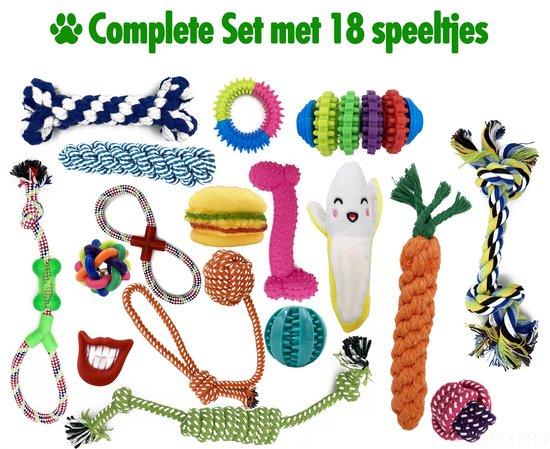 Honden Speelgoed - 18-Delige Set - Honden speelgoed intelligentie + Honden Bal / Bijtring / Touw / Knuffel / Frisbee  - Hondenspeeltjes - Geschikt voor Puppy's & Grote honden - Puppy Speelgoed - Soultex Pro