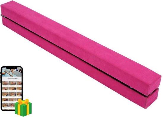 Opvouwbare turnbalk roze + oefenvideo`s - Ideale compacte balk om thuis oefeningen op te turnen   Opvouwbare Evenwichtsbalk