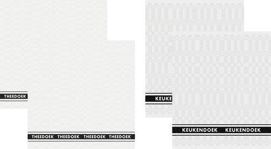 DDDDD Pelle - 2 Theedoeken & 2 Keukendoeken - White