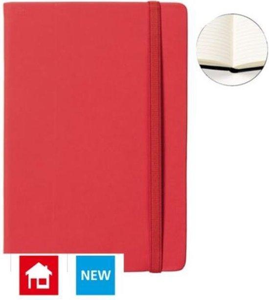 Afbeelding van Notitieboek A5 rood met harde kaft en elastiek