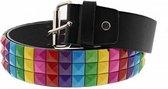 Zac's Alter Ego Riem Rainbow 3 row pyramid studded Multicolours