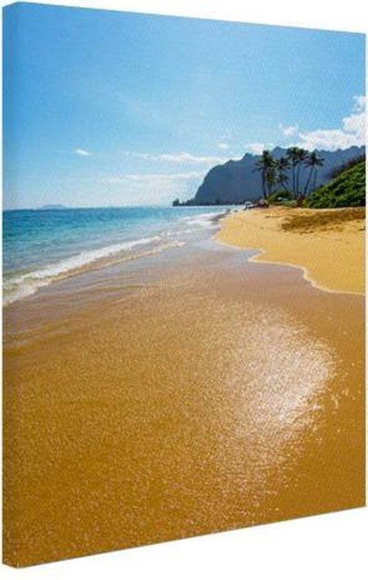 Kaaawa Beach in de stille oceaan Canvas 60x80 cm - Foto print op Canvas schilderij (Wanddecoratie woonkamer / slaapkamer) / Zee en Strand