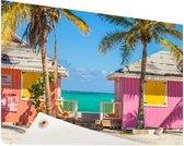 Kleurrijke strandhutjes Caraiben Tuinposter 200x100 cm - Foto op Tuinposter / Schilderijen voor buiten (tuin decoratie)