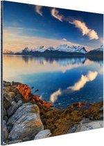 Zonsondergang aan de kust van het fjord Aluminium 180x120 cm - Foto print op Aluminium (metaal wanddecoratie) XXL / Groot formaat!