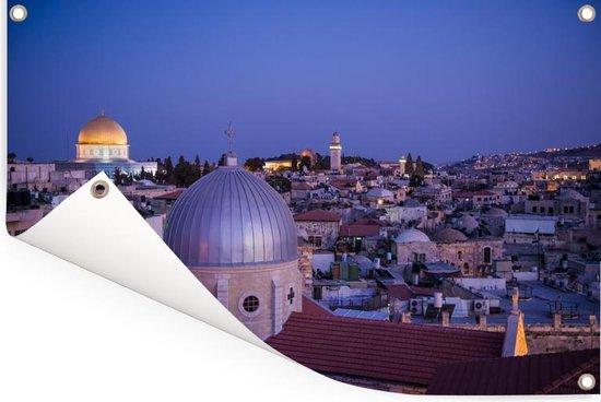 Uitzicht op Jeruzalem en de Heilig Grafkerk na zonsondergang Tuinposter 120x80 cm - Tuindoek / Buitencanvas / Schilderijen voor buiten (tuin decoratie)