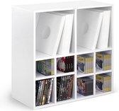 LP vinyl kast meubel multifunctioneel uit te breiden voor opslag Vinyl + CD + DVD (wit)