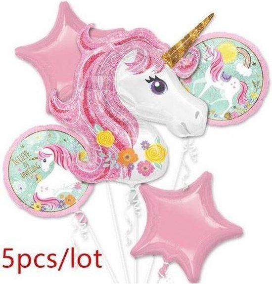 5 stuks unicorn helium ballonnen (leeg)
