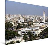 Skyline van de stad Casablanca in Marokko Canvas 90x60 cm - Foto print op Canvas schilderij (Wanddecoratie woonkamer / slaapkamer)