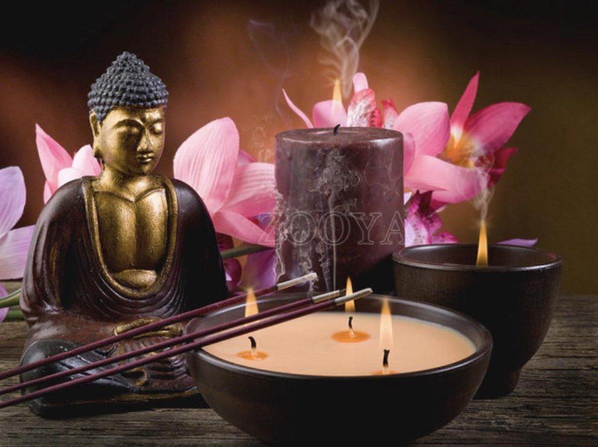Diamond Painting Pakket Boeddha met kaarsen en bloemen - FULL - Volledig - Diamond Paintings - 30x25 cm - SEOS Shop ®