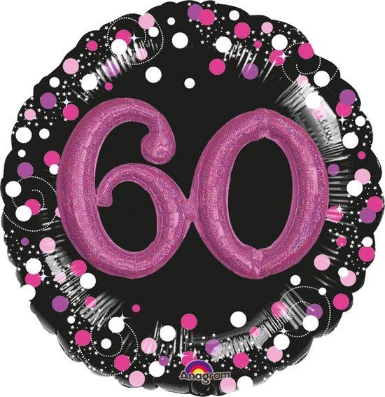 Amscan Folieballon 60 Jaar Zwart/roze 81 Cm