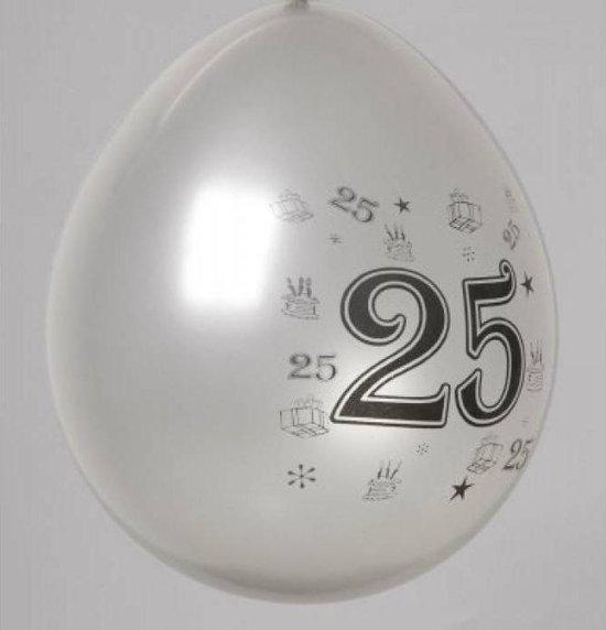 Latex ballonnen versiering - 25 Jaar - huwelijk, verjaardag of jubileum - zilver - 8 stuks - 30cm doorsnee - biologisch afbreekbaar