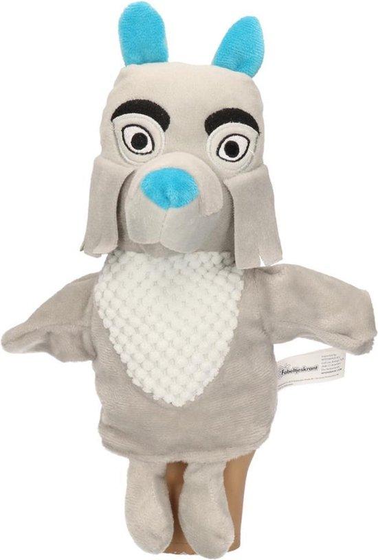 Pluche Fabeltjeskrant Bor de Wolf handpop knuffel 25 cm speelgoed - Fabeltjeskrant poppen - Wolven bosdieren knuffels - Poppentheater speelgoed kinderen - Grijs