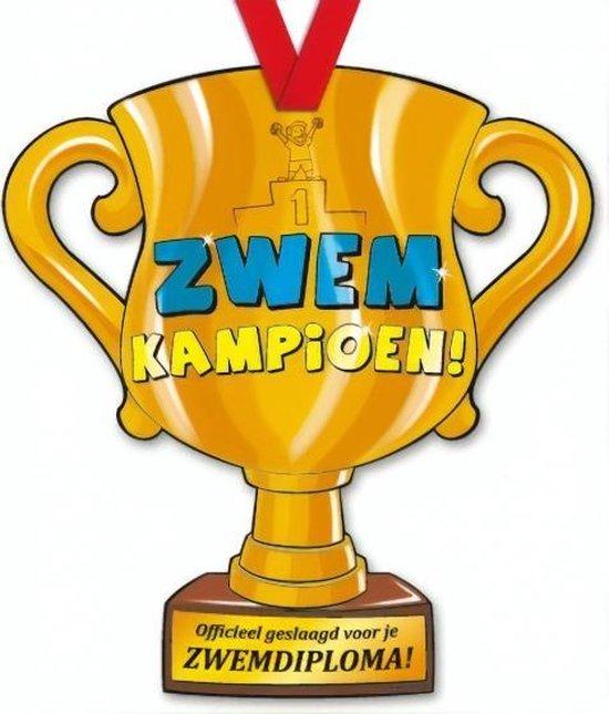 Trofee met lint - Trophy - Zwemdiploma