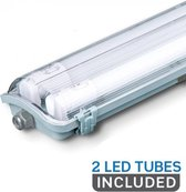 V-tac LED TL Armatuur 120cm, 36w, 6400K, 3400 Lumen IP65, incl. 2x led buis 120cm
