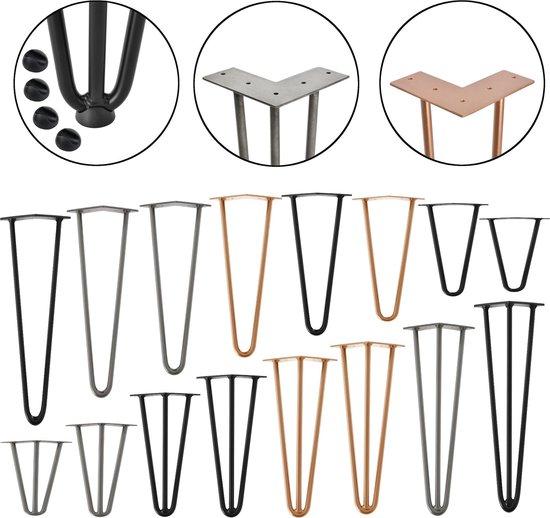 Hairpin poten tafelpoten 3-punt set van 4 - 72 cm - zwart - en.casa