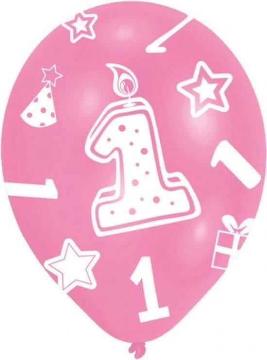 Amscan Ballonnen 1 Jaar Meisjes 27,5 Cm Latex Roze 6 Stuks