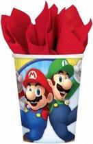 24x stuks Super Mario thema bekers 266 ml - Kinder verjaardag feestartikelen- wegwerpbekertjes