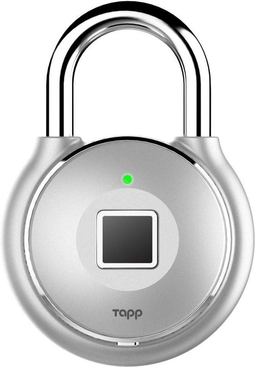 Tapplock One+. Kleur: Sterling Silver. Premium en het meest duurzame en veilige bluetooth hangslot met geavanceerde vingerscan technologie. IP67 waterdicht en weerbestendig. Duurzaam. Onbreekbaar. Veilig.