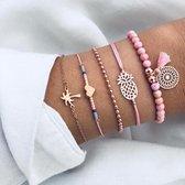 CHARO - 5 Delig Set Armbanden - Palmboom - Bolletjes - Ananas - Hartje - Flosje - Roze - Goud - Wit
