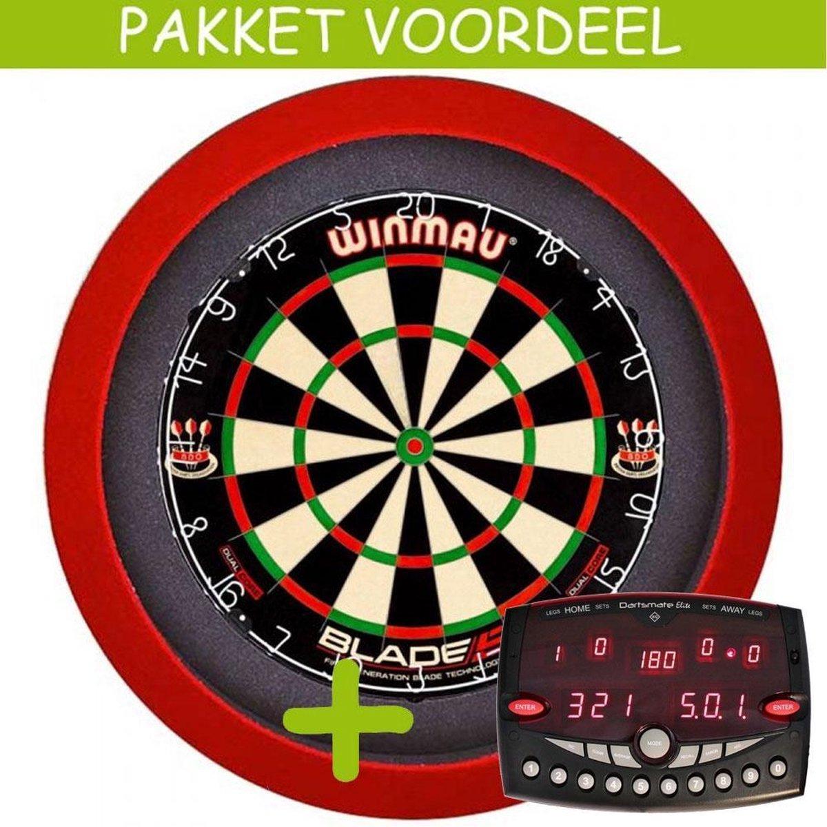 Elektronisch Dart Scorebord VoordeelPakket (Elite ) - Dual Core - Dartbordverlichting Basic (Rood)