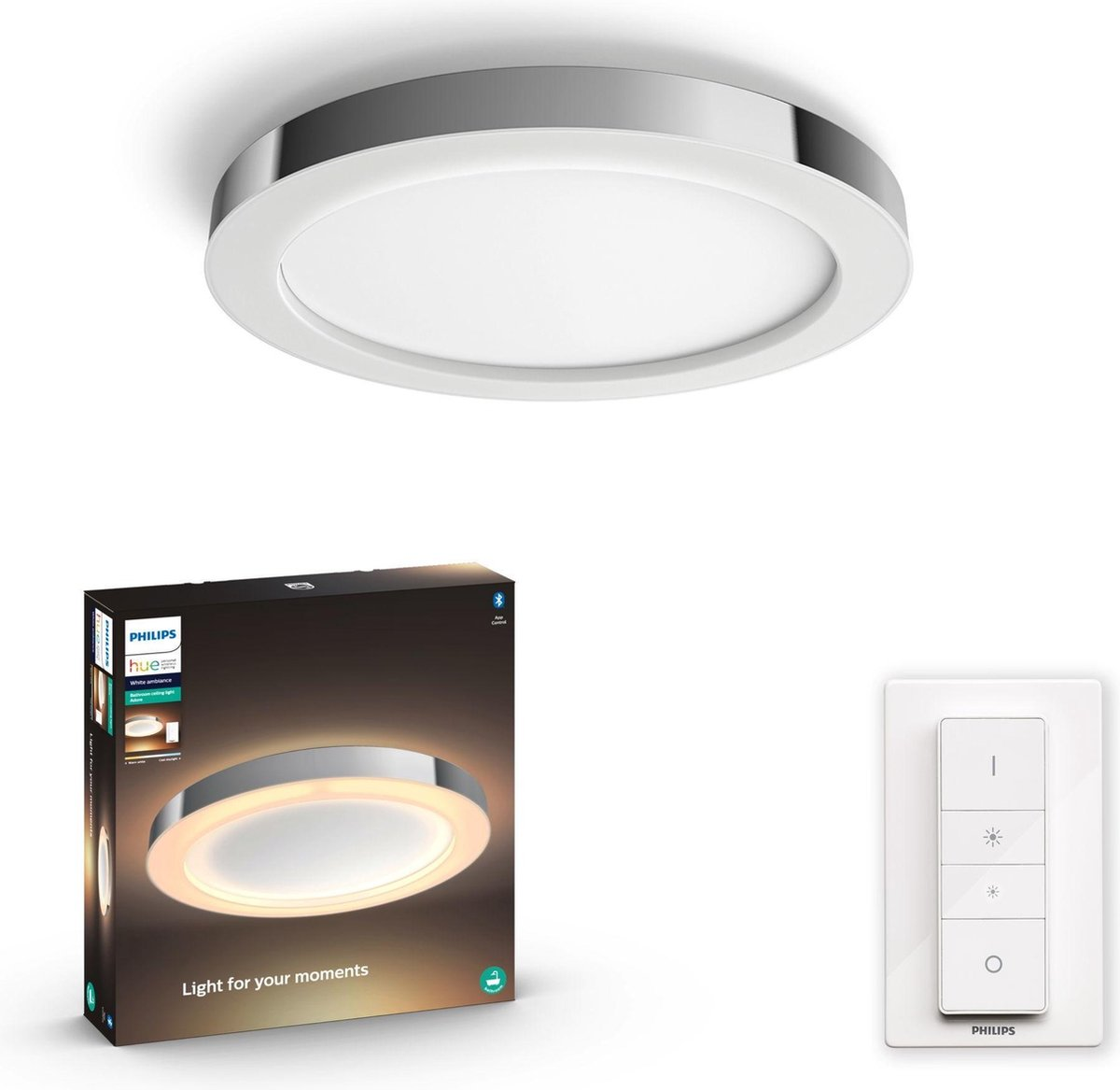 Philips Hue - Adore Hue Ceiling Lamp Chrome - White Ambiance Dimmer included